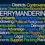 Gerrymandering Word Cloud on Blue Background