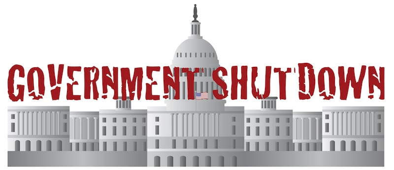 Washington DC US Capitol Building Government Shutdown Red Text Outline Illustration