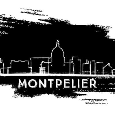 Montpelier Skyline Silhouette. Hand Drawn Sketch. Vector Illustration. Business Travel and Tourism Concept with Modern Architecture. Image for Presentation Banner Placard and Web Site.