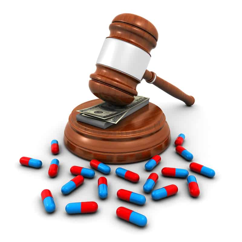Medical insurance concept with pills, judge gavel and dollar bills on the white background (3d render)